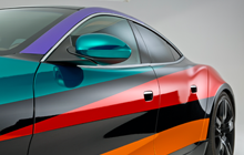 Car wrapped with colored overlaminates