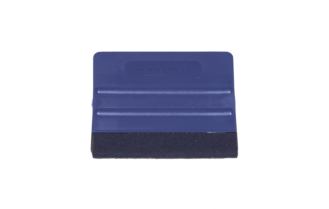 Blue felt vinyl wrap application squeegee